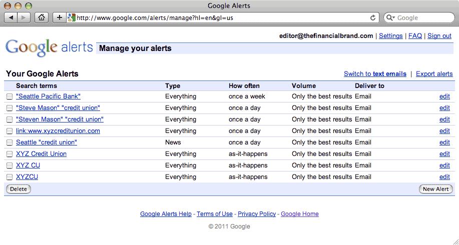 google alerts 10 Free Social Media Monitoring Tools